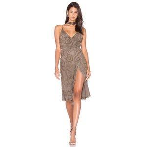 Majorelle Hollyhock Beaded Wrap Front Dress Brown